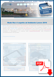 Made Hse vi aspetta ad Ambiente Lavoro 2016 Bologna Stand D20 Padiglione 36